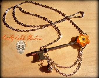 Vintage skeleton key, flower, skull Swarovski necklace