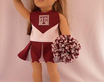 Texas A & M  Cheerleader,shoes,pompoms for American Girl Doll
