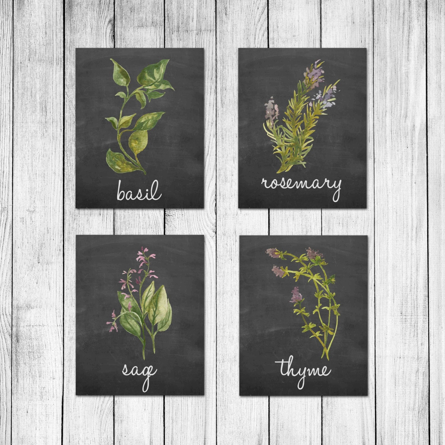 watercolor italian herb chalkboard kitchen decor wall