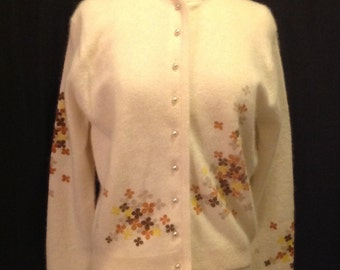 Vintage Ivory Angora Lambs Wool Women's Floral Print Sweater with Pearl Button Down Marked Sz 40 Marshall Fields Co