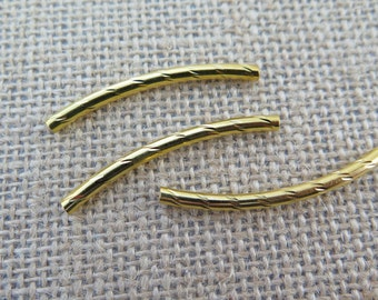 3PCS - Gold Toned - Curved Tubes - 40mm - Findings by ZARDENIA