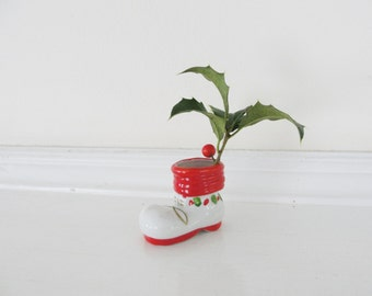 Tiny Vintage Christmas Boot Vase, Small Vintage Ceramic Boot Decoration for the Holidays