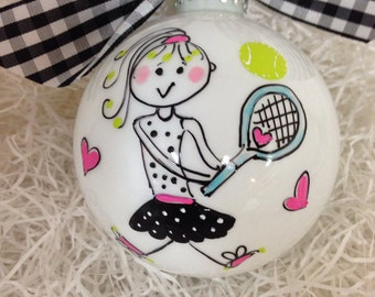 Tennis theme handpainted ornament