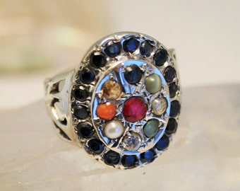 Sapphire ring. Multi gem ring. Sterling silver. Ruby ring. UK size O. US size 7 1/4
