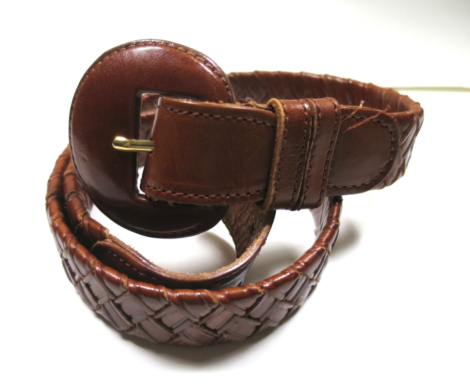 vintage braided leather belt brown covered by