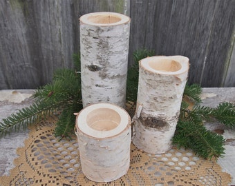 3 WHITE BIRCH Wood Candle Holders - Simple Natural Wedding Decor - The Flower Patch