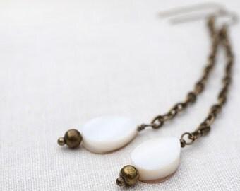 Boho Drop Earrings, Tribal Chain Earrings, Natural Shell White Earrings, Antique Bronze,  You Pick Short or Long Dangle