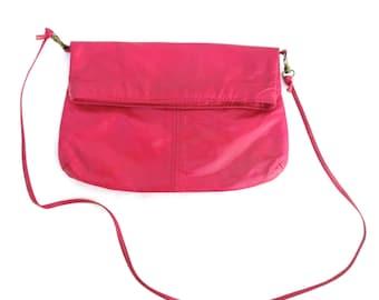 Vintage 80s Clutch Fold Over Bag Pink Zipper Clutch 1980 Leather Purse Pink Shoulder Bag