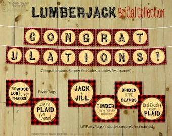 Lumberjack Bridal Collection : Print at Home Bridal Shower Party Decorations | Buffalo Plaid Couples Shower | DIY Printable | Digital Files
