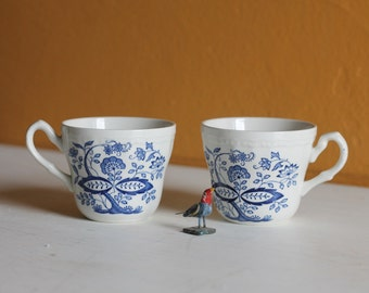 Scandinavian Teacup Set of Two Blue Flowers White Cup Mug Swedish Forest Design China