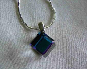Swarovski Crystal Cube Heliotrope Pendant Necklace