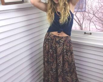 Vintage  SKIRT,size M/L vintage clothing, mid length skirt, vintage skirt, paisley skirt, long aline skirt, indie skirt, boho skirt, Zasra