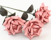 3 leather rose bouquet pastel pink third Anniversary wedding gift Long Stem leather Flower Valentines 3rd Leather Anniversary Mother's Day