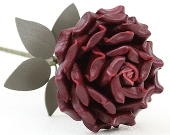Burgundy Leather Rose third Anniversary wedding gift Long Stem leather flower Valentine's Day 3rd Leather Anniversary Mother's Day