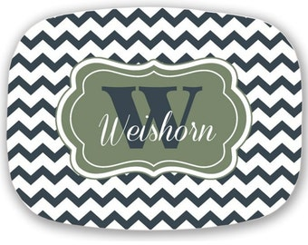 Personalized Monogramed Platter Chevron Pattern or Design Your Own