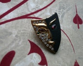 Vintage 1980's Rhinestone Drama Mask Brooch Goldtone Mardi Gras