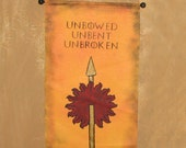 "Large Hand Painted  House Martell ""Unbowed Unbent Unbroken"" Canvas Banner - Game of Thrones - Sunspear  - Sigil -  Red Viper"