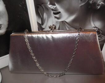 Vintage 1960s 1970s Clutch Bag Purse Silver Color Has A Chain Handle