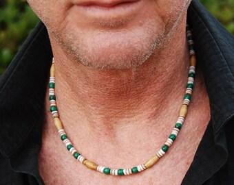 CLEARANCE - Steamer Lane - 19 Inch Handcrafted Gemstone Necklace - Malachite, Sea Shell & Bone - SGArtCA - Tribal Chic Jewelry