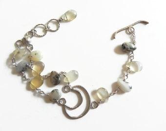 Crescent Moon Bracelet, Dendritic Opal beadwork moon Bracelet, wire wrapped opal beaded lunar bracelet