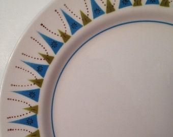 Vintage Mikasa Salad Plate - Blue and Green Atomic Design -  Mediterrania Genie