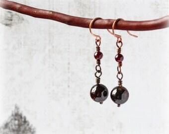 Garnet Earrings, Gemstone Earrings, Drop Earrings, Copper Earrings, Boho Earrings, Tribal Earrings, Rustic Earrings, Earthy Earrings