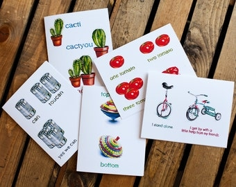 Mix'n'Match Notecards (set of five) - greeting cards, variety, blank interior for thank you, get well, thinking of you, friendship, humor
