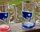 Beer Mug New England Patriots Hand Painted Beer Glass Made to Order Pats Fans