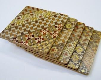 Japanese Wood Mosaic Yosegi-Coaster-Glass Mat- a Set of 5pcs.
