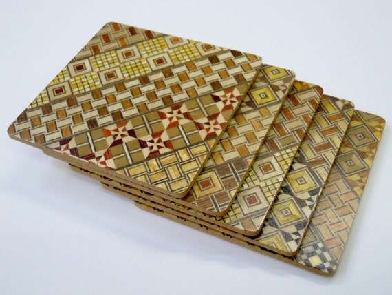Japanese Wood Mosaic Yosegi-Coaster-Glass Mat- a Set of 5pcs.