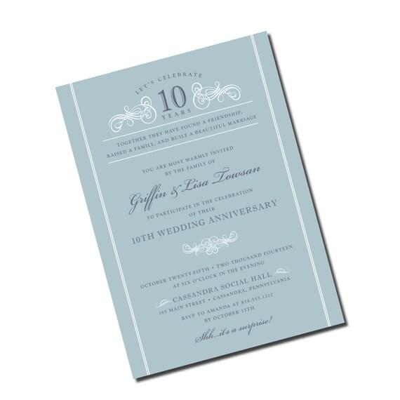 Silver 10th Wedding Anniversary Invitation
