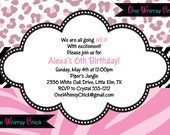 Leopard Print Invitations, Birthday, Baby Shower Animal Print Party Invitations, Printable or Printed