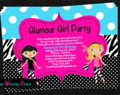 Glamour Girl Birthday Invitation, Fashion Show Party Invitations, Printable or Printed