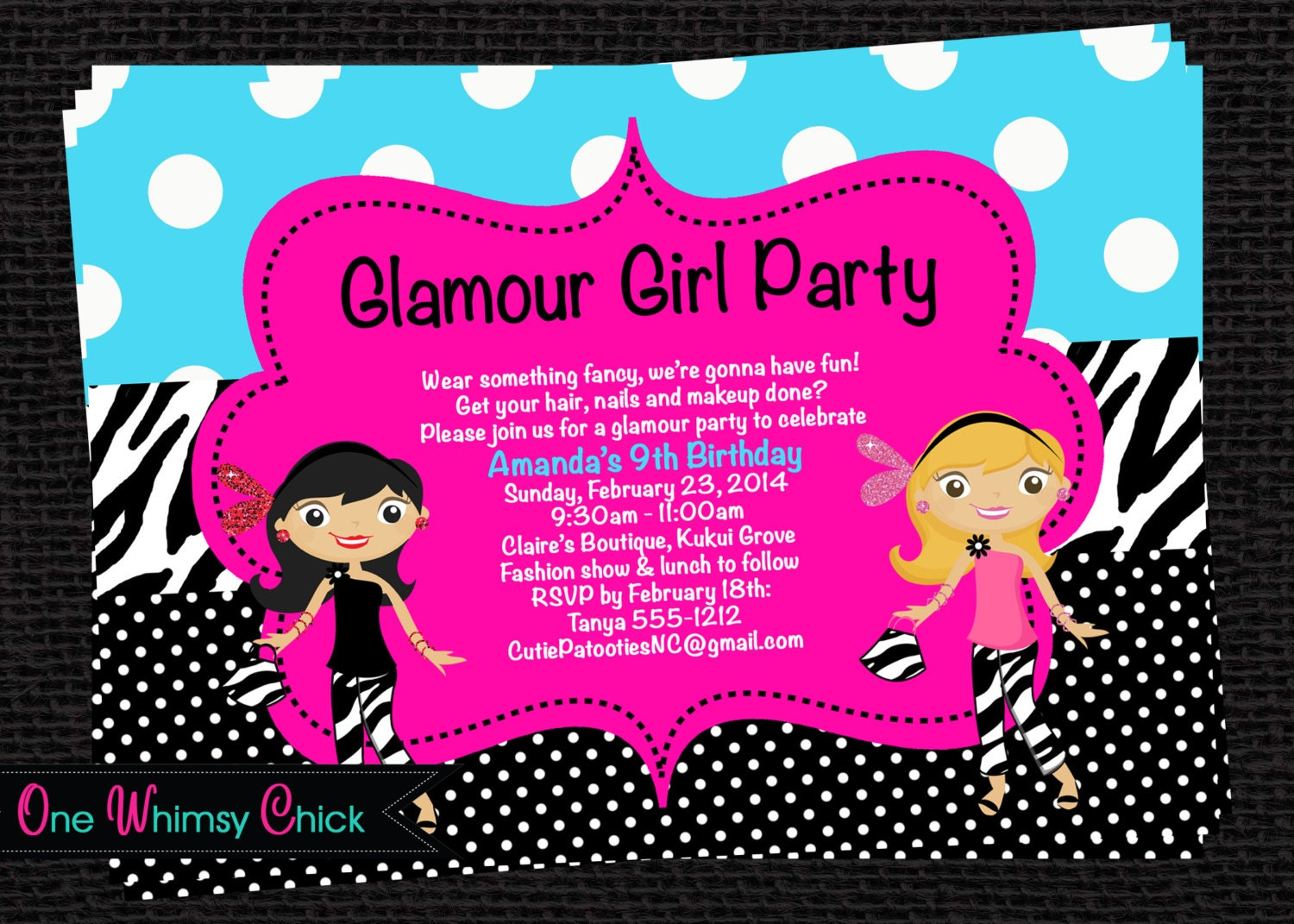 Glamour Girl Birthday Invitation Fashion Show By Onewhimsychick
