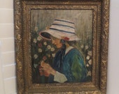 Reserved for Olga~Vintage Oil Painting GIRL in BONNET Picking FLOWERS in Field c.1920-30s