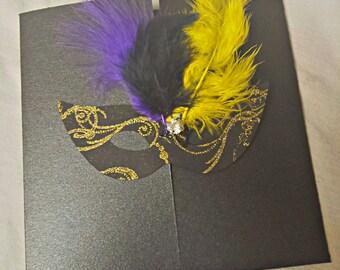 Mardi Gras Invitation -- Wedding Invitation -- Couture Mardi Gras  Invitation -  Chic Black Invitation