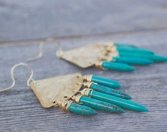 Turquoise, Earrings, Statement Earrings, Boho Jewelry, Gift for Her