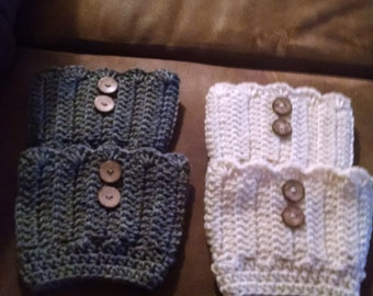 Crochet boot cuffs (set of 2) Aran and grey
