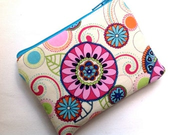 Small Coin Purse Padded Zipper Pouch Small Floral Gadget Bag Change Purse Clutch Card Case Flowers Cream Pink Turq