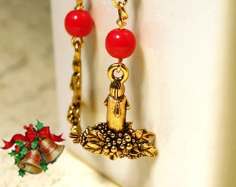Candle Charms Drops Gold Plated Pewter 20mm Christmas Pendant