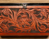 Floral Carved Leather Clutch
