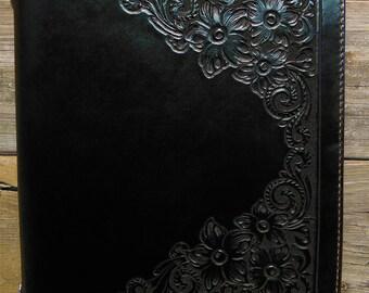 Handcarved Black Leather 3-Ring binder with dark brown interior