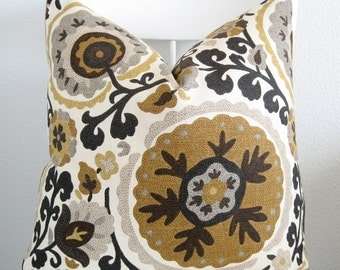 Rustic gold black, medallion, decorative pillow cover - Cavallo Marble suzani pillow cover