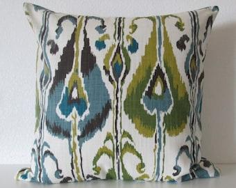 Robert Allen Ikat Bands Rain ivory green brown ikat decorative pillow cover