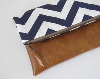 Fold Over Clutch, Leather Clutch Purse, Vegan Leather Clutch,Navy Chevron Zipper Clutch, Ipad Case, Kindle Case,Holiday Gift , Gift For Her