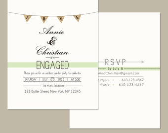 Save the Date Garden Party, RSVP Outdoor Engagement Party, 4.25x6 Postcard