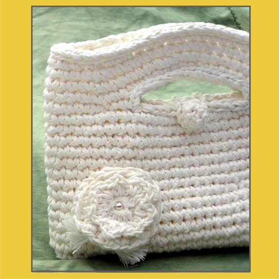 Pure White Cotton Hand Bag Crochet Bag Bridal & more....