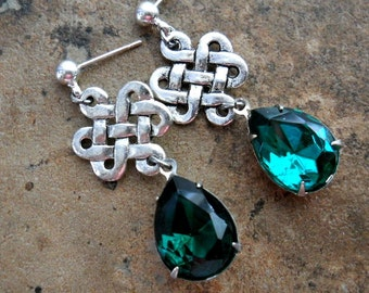 Celtic Knot Emerald Earrings in Antiqued Silver