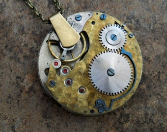 READY TO SHIP Steampunk Double Sided Rare Brass Pocket Watch Pendant-Vintage Watch Movement with Dragonfly Watch Hands