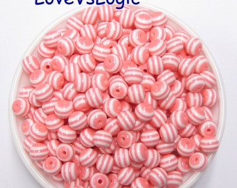 40 Lucite Sphere Beads. Pink and White Stripes.10x9mm